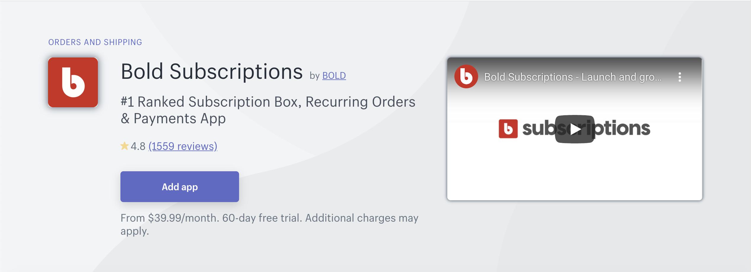 Bold Subscriptionのアプリの画像