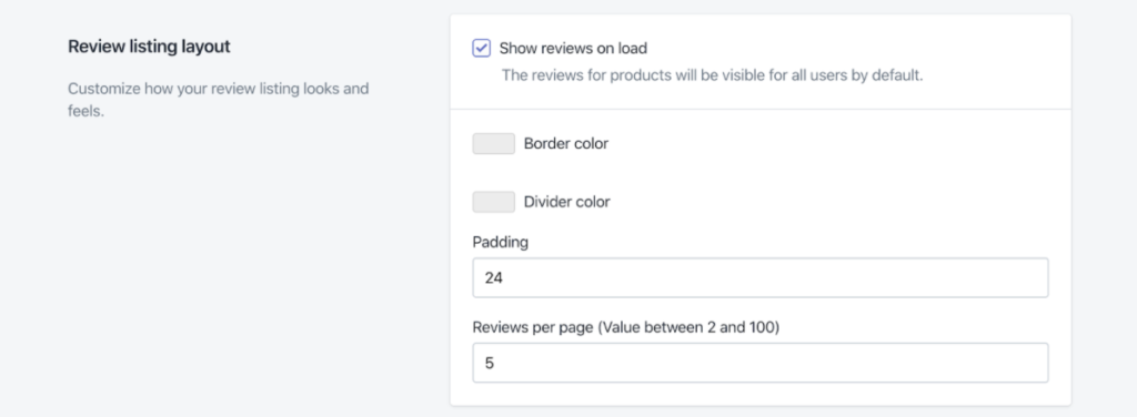 Review listing layout