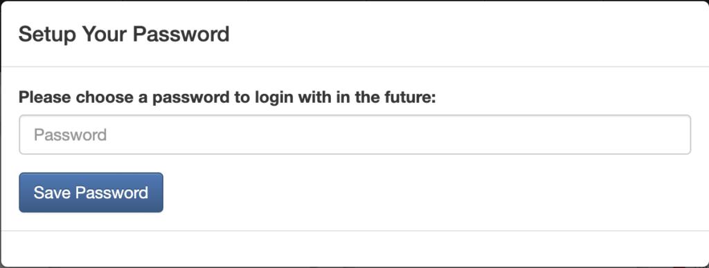 パスワード設定画面