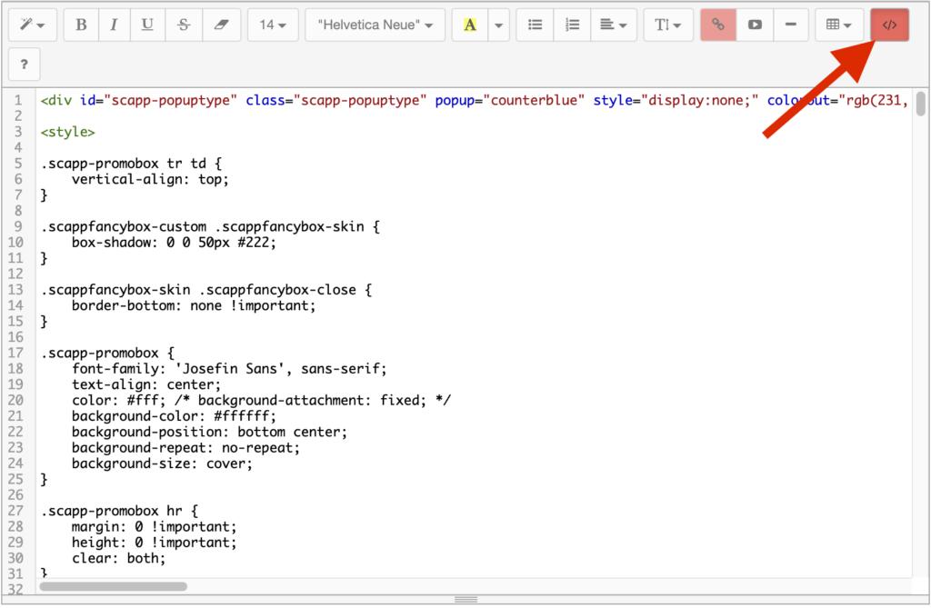 ポップアップのデザインのコード編集画面